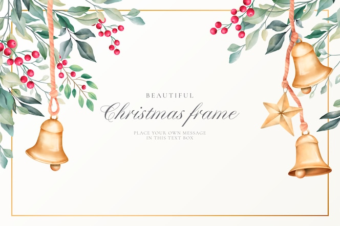 Watercolor christmas background with cute decoration