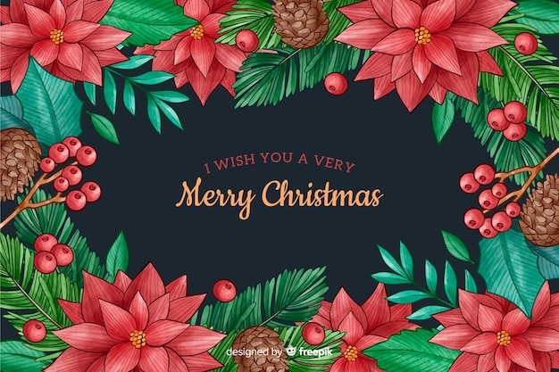 Watercolor christmas background with flower