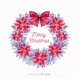 Watercolor christmas background  with flowers crown and ribbon