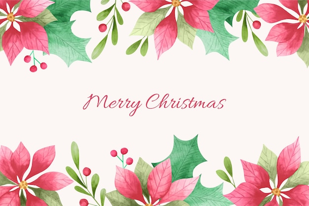 Watercolor christmas background with flowers