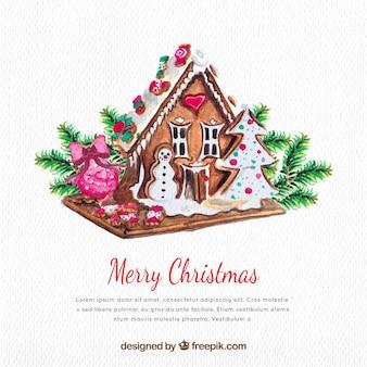 家で水彩クリスマスの背景