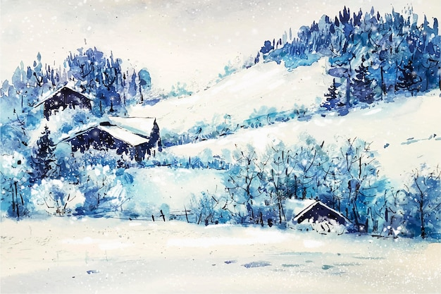 Watercolor christmas background with landscape