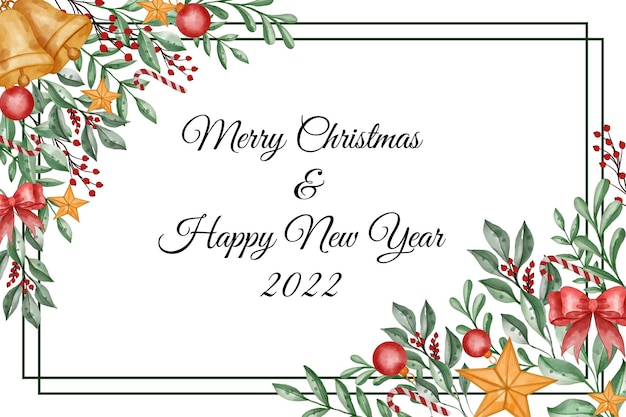Watercolor christmas background with leaves, berry and christmas light ball