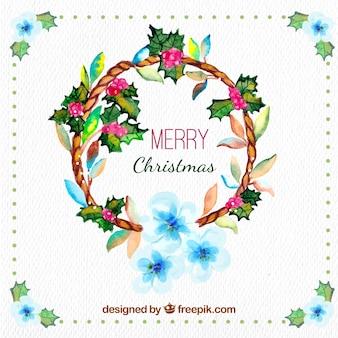 ヤドリギと水彩クリスマスの背景