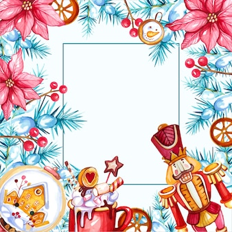 Watercolor christmas background with nutcracker and hot drink
