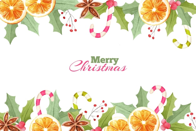 Watercolor christmas background with oranges