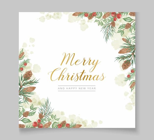 소나무 나뭇가지와 수채화 크리스마스 배경