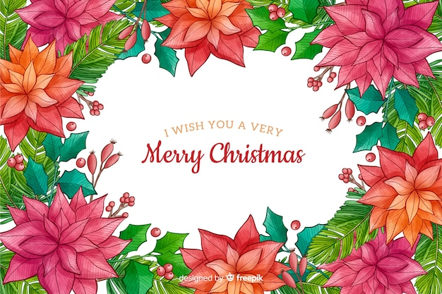 Watercolor christmas background with plants