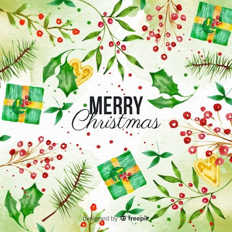 Watercolor christmas background with presents and mistletoe