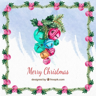Watercolor christmas background with sleigh bells