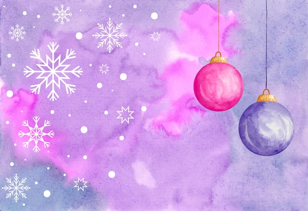 Watercolor christmas background with snowflakes and christmas ball