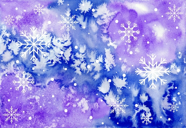 Watercolor christmas background with snowflakes