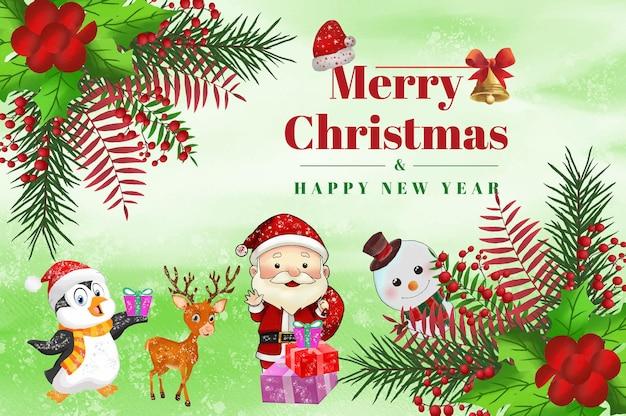 수채화 크리스마스 배경 화 환 녹색 잎 장신구