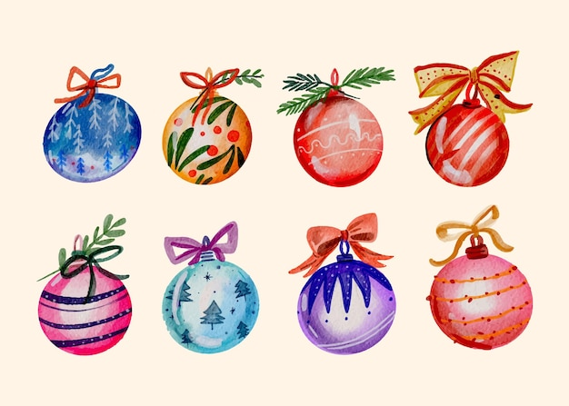 Watercolor christmas ball ornaments collection