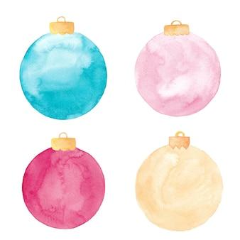 分離された水彩画のクリスマスボール飾り。塗装済みクリスマスつまらないものセット。