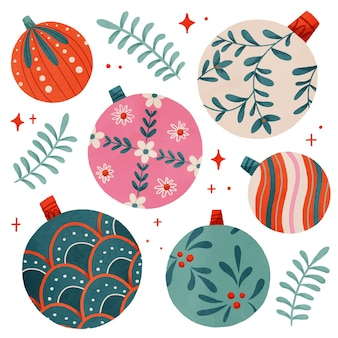 Watercolor christmas ball ornaments