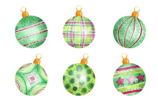 Watercolor christmas ball ornaments
