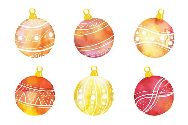 水彩のクリスマスボールの飾り