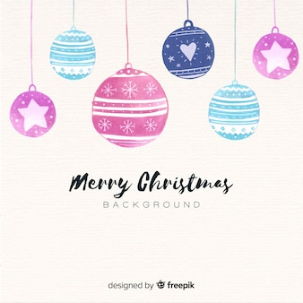 Watercolor christmas balls background
