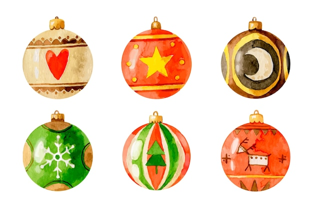 Watercolor christmas balls set