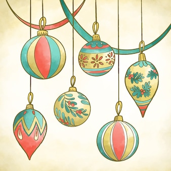 Watercolor christmas balls with close-up