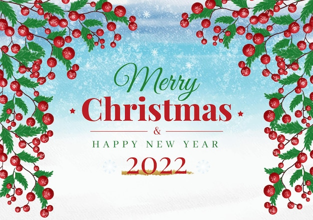 Watercolor christmas banne background with ornaments