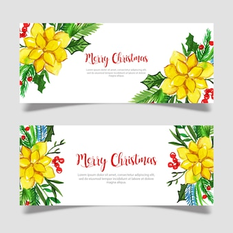 Watercolor christmas banner template