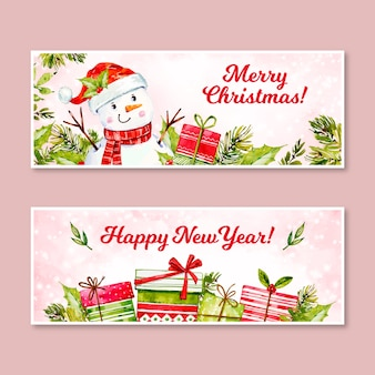 Watercolor christmas banners template