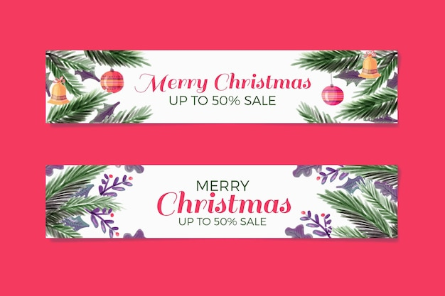 Watercolor christmas banners with discount