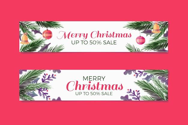 Акварельные рождественские баннеры со скидкой