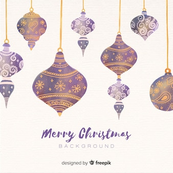 Watercolor christmas baubles background