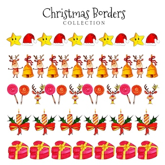 Watercolor christmas borders collection