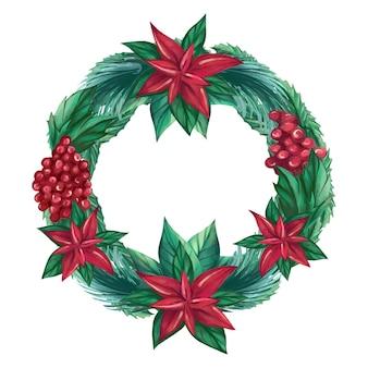 水彩のクリスマスの植物の花輪のベクトル図