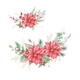 Акварель рождественский букет с цветами пуансеттии