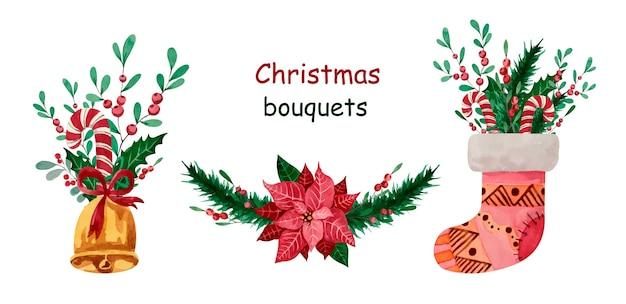 ポインセチア、靴下、ベル、キャンディー、緑の水彩画のクリスマスブーケ