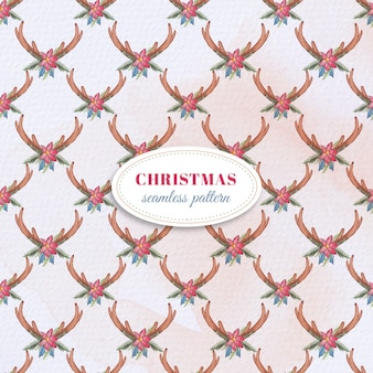 Watercolor christmas branch pattern
