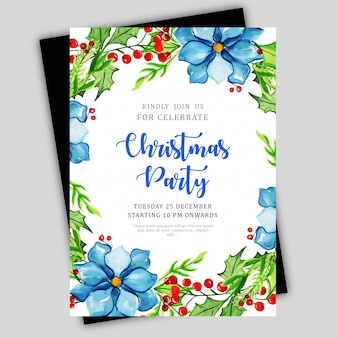 Watercolor christmas brochure template