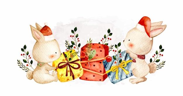 クリスマスプレゼントと水彩のクリスマスバニー
