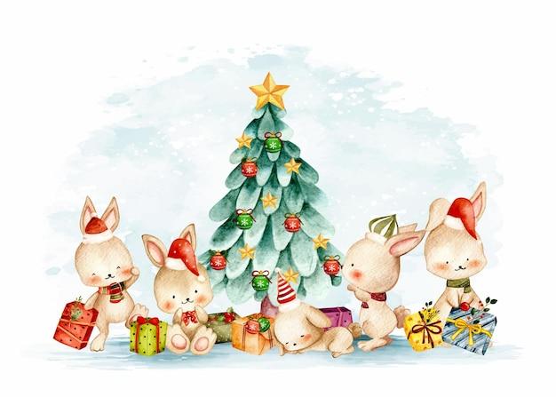 クリスマスツリーと水彩のクリスマスバニー