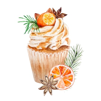 水彩のクリスマスケーキ。手描きのオレンジと葉