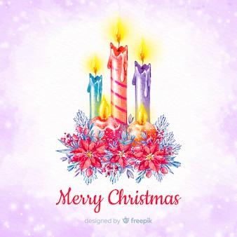 Акварель рождественские свечи фон
