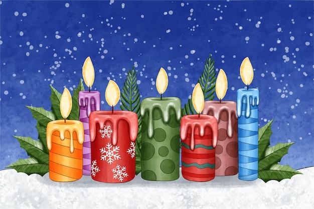 수채화 크리스마스 촛불 배경