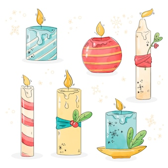 Watercolor christmas candle collection