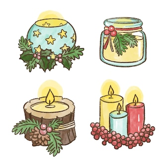 水彩クリスマスキャンドルコレクション