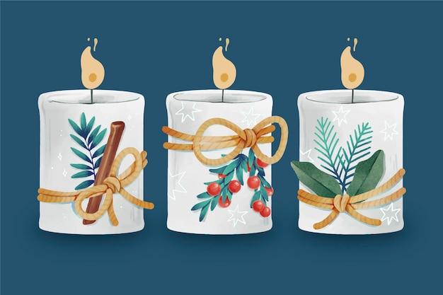 Коллекция акварельных рождественских свечей