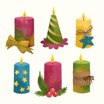 수채화 크리스마스 촛불 컬렉션