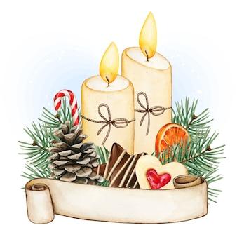 Акварельное рождественское украшение из свечей со свитком, шишкой и зимней едой