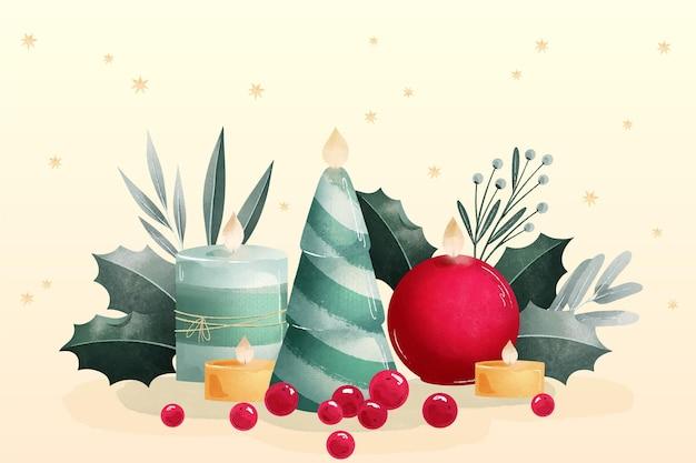 Акварель рождественская свеча акварель