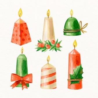 Набор акварельных рождественских свечей