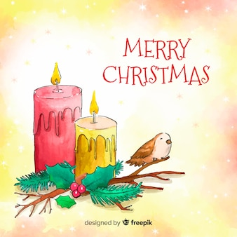 Watercolor christmas candles